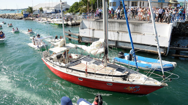 16-year-old Laura Dekker arrives in the Dutch Caribbean island of Sint Maarten on January 21 after her voyage around the globe.