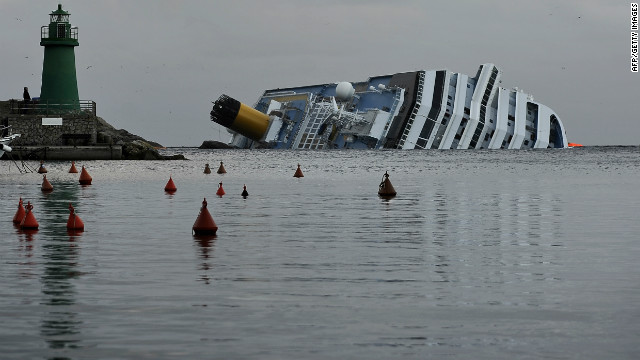 The cruise ship Costa Concordia lies stricken off Giglio on January 22.