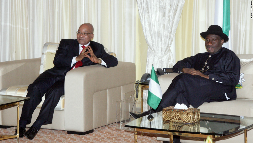 South African President Jacob Zuma meets with Goodluck Jonathan at the presidential villa in Aso Rock, Abuja on December 10, 2011