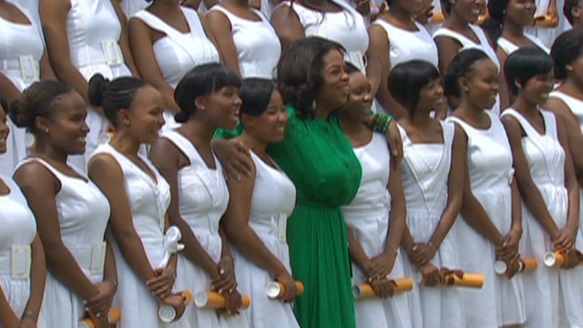 Oprah Winfrey with students from her school in Johannesburg, South Africa