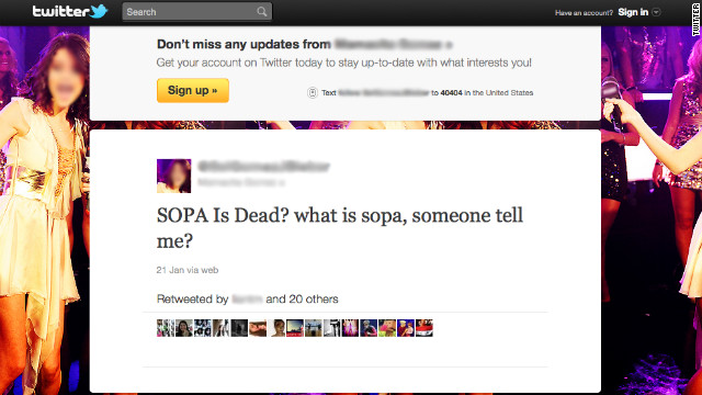 Some people asked what SOPA is via Twitter when sites like Wikipedia staged mass, one-day blackouts of service in protest.