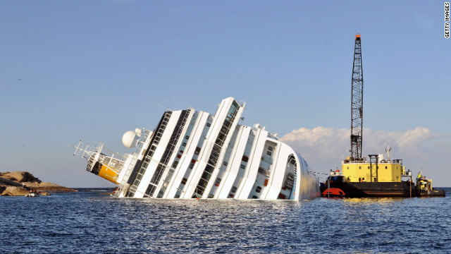 Salvage work begins on the stricken cruise ship Costa Concordia.