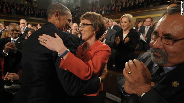 President hugs Gabby Giffords