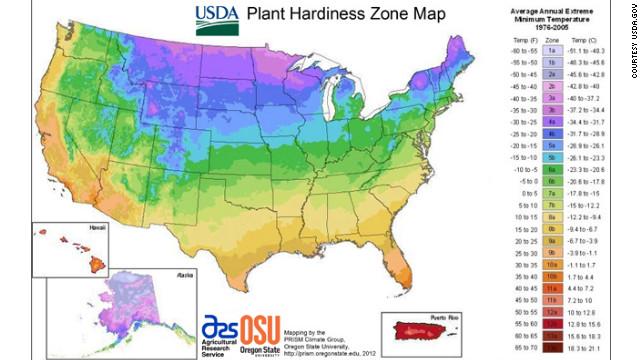 The new map features 26 minimum extreme temperature zones.