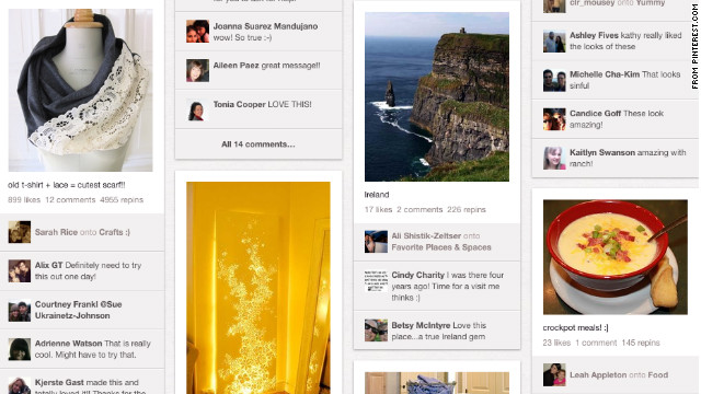 "Pinterest lets users ""pin"" items they like to virtual boards."