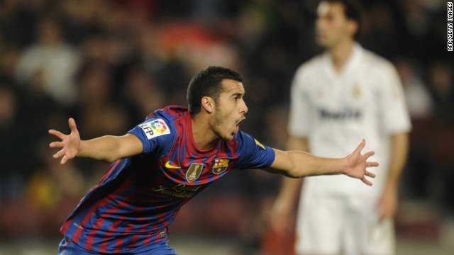 Barcelona's Pedro celebrates after scoring the opening goal in the Spanish Cup quarterfinal against Real Madrid.