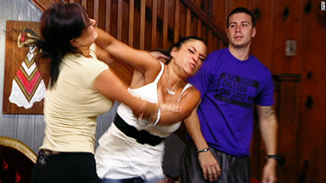 "Sammi Giancola and Jenni Farley fight during the third season of ""Jersey Shore."""