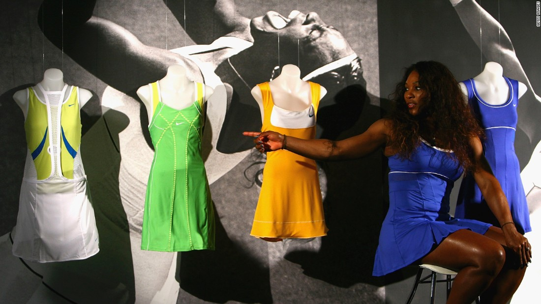 In 1999, Williams enrolled at the Art Institute of Fort Lauderdale in Florida to study fashion design. Here, she shows a collection of her designs at the 2012 Australian Open.