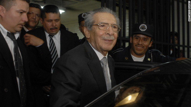Guatemala's former dictator Efrain Rios Montt is seen outside the court in Guatemala City on Thursday.