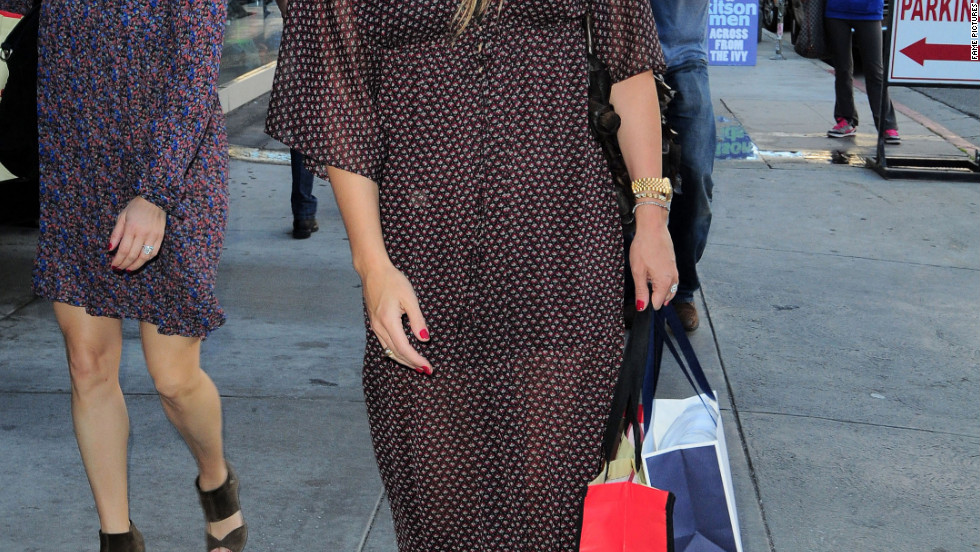 Molly Sims goes shopping in West Hollywood.