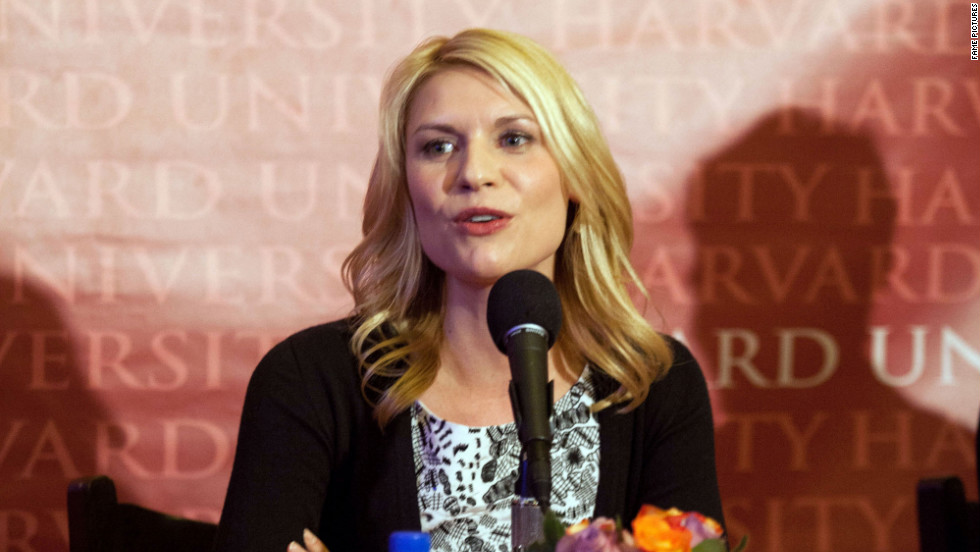 Claire Danes receives an award at Harvard University at Cambridge, Massachusetts.