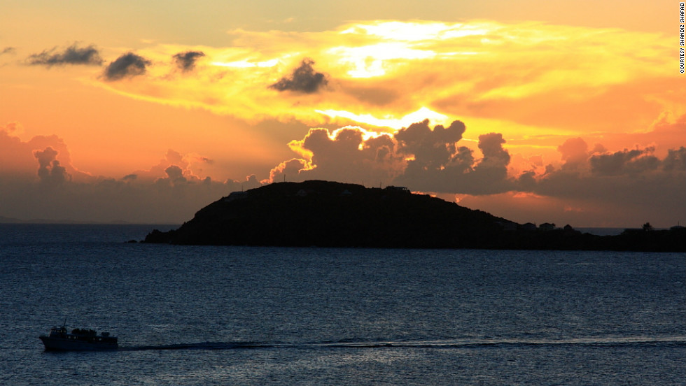 "Shandiz Shafaei captured this fiery sunset on St. Thomas. ""It's a great place to relax and recharge your batteries."""