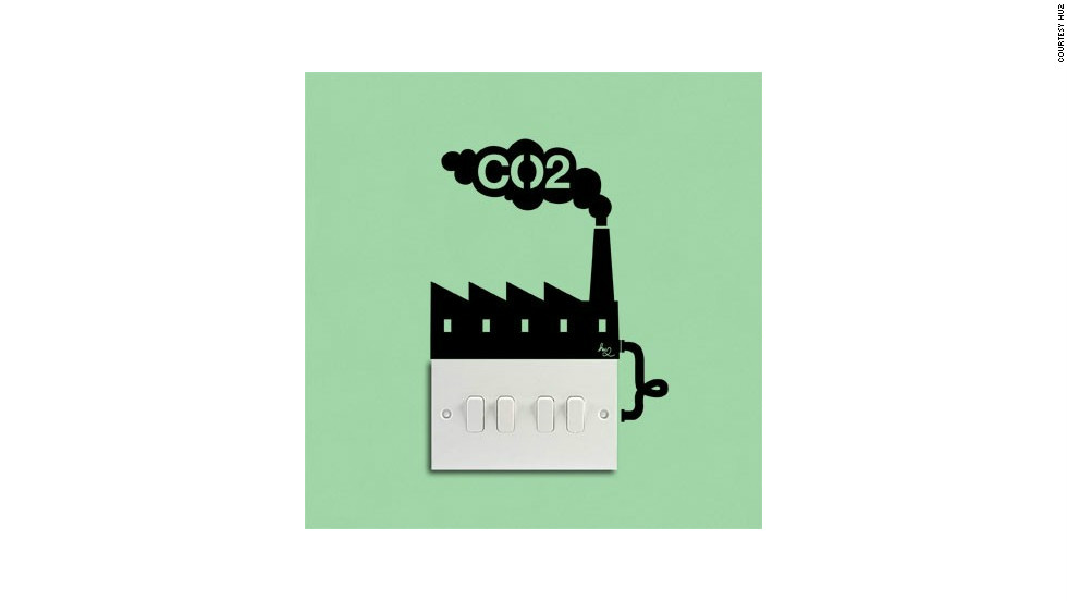 A wall sticker from London-based design and sustainbility outfit Hu2 brings home the carbon cost of keeping the lights on.