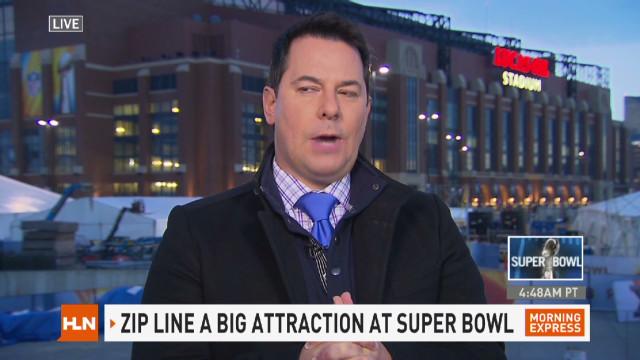 Carlos Diaz rides Super Bowl zip line