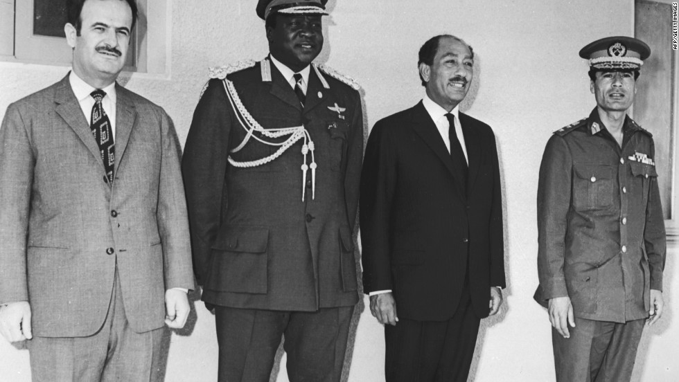 Syrian President Hafez Assad, left, poses with Ugandan President Idi Amin, Egyptian President Anwar El Sadat and Libyan leader Moammar Gadhafi in June 1972 in Kampala.