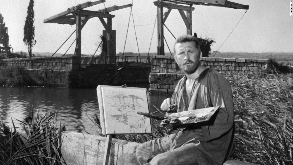 "Van Gogh, portrayed here by Kirk Douglas in the 1956 film ""Lust for Life,"" led a famously troubled life, struggling with poverty and mental illness before his eventual suicide in 1890."