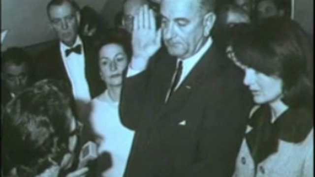 Lyndon B. Johnson sworn into Presidency the day JFK dies.