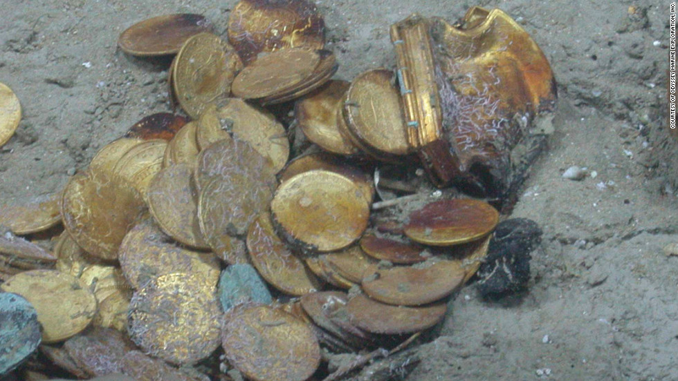 Hundreds of gold coins and more than 500,000 silver coins were discovered on the floor of the Atlantic Ocean near Spain in 2007 by an American deep-sea salvage group.