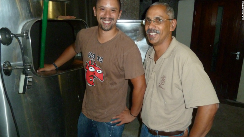 Randolph Christians, head winemaker at Rustenburg Estate with his son.
