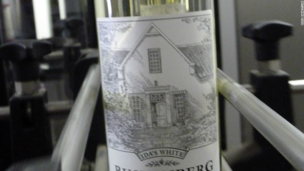 A fresh bottle of white wine produced at the Rustenburg Estate.