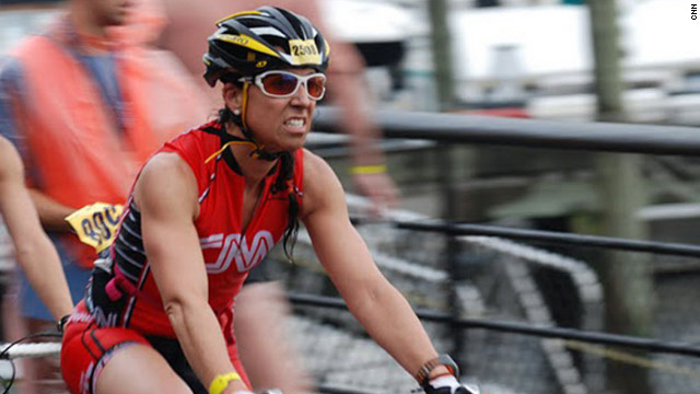Roni Selig competes in the NYC Triathlon in 2011.
