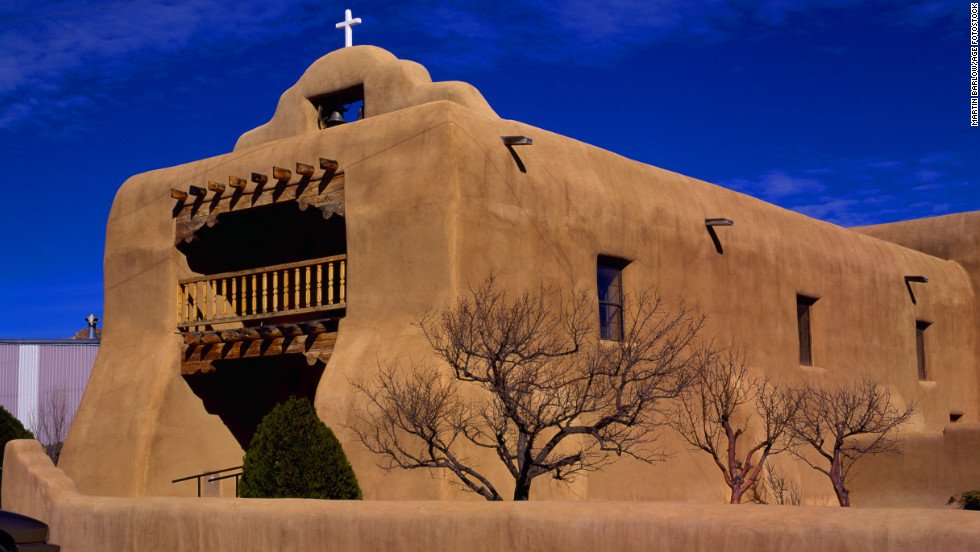 The adobe St. Thomas Church is located in Abiquiu, a small New Mexico town where Georgia O'Keeffe moved after the death of her husband.