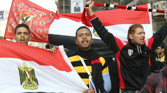 Fans of Egyptian club Al-Ahly protest in Cairo after 79 fans were killed in violent clashes in the city of Port Said.