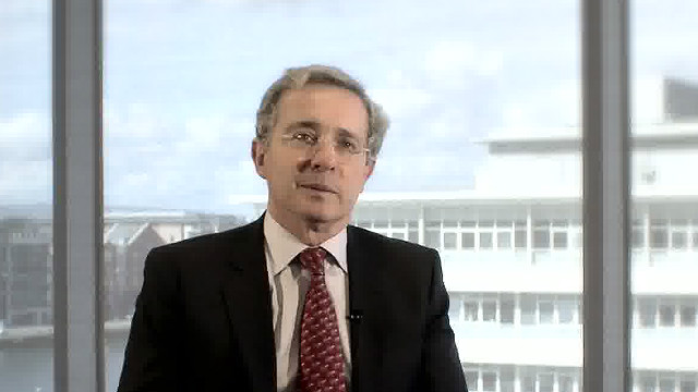 Colombia's ex-president Alvaro Uribe Velez tells CNN in interview in July 2011 that his country is winning war on drugs.