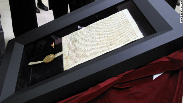 The Magna Carta's new display box, made of aircraft-quality metal, is filled with argon gas to preserve the parchment.