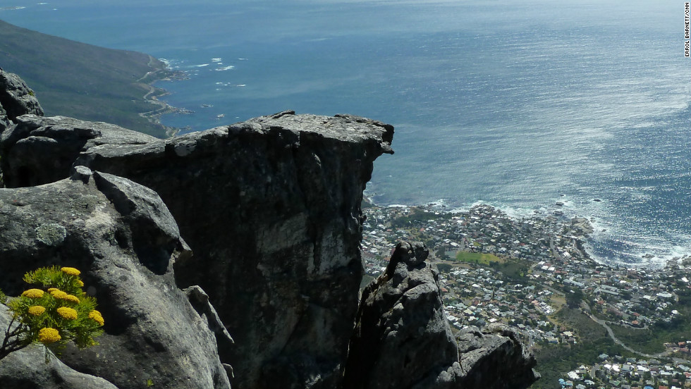 Breathtaking view of Camps Bay and the South Atlantic from Table Mountain.