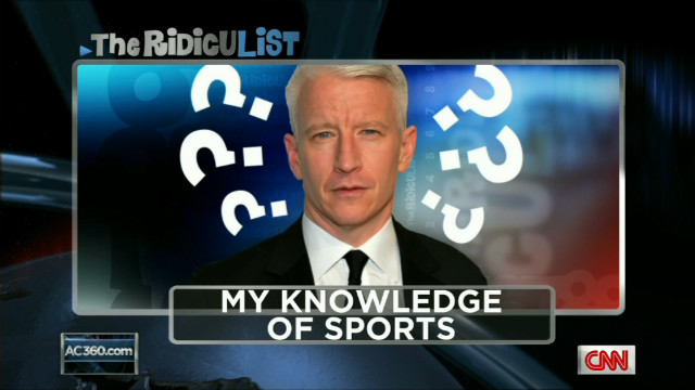 Anderson Cooper makes fun of his lack of sports knowledge.