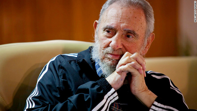 "The website www.cubadebate.cu released this photo of Castro at Friday's presentation of ""Fidel Castro Ruz: Guerrilla of Time."""