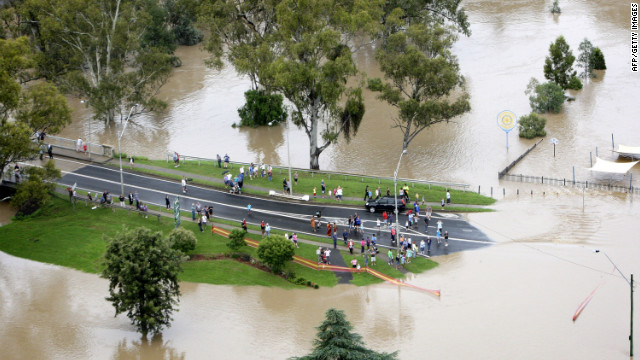 An aerial view of flood affected streets on February 3, 2012 in Moree, Australia.