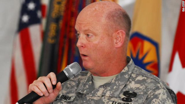 U.S. Brig. Gen. Terence Hildner speaks at an event in Fort Hood, Texas in April.