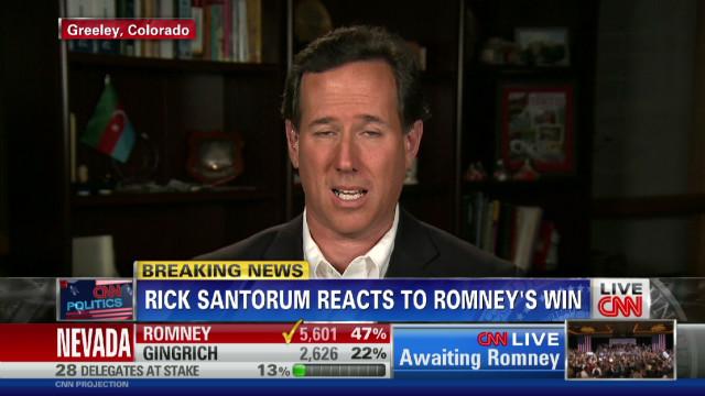 Santorum reacts to Romney's Nevada win