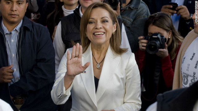 Mexican presidential candidate Josefina Vazquez Mota waves during her party's internal election on Sunday.