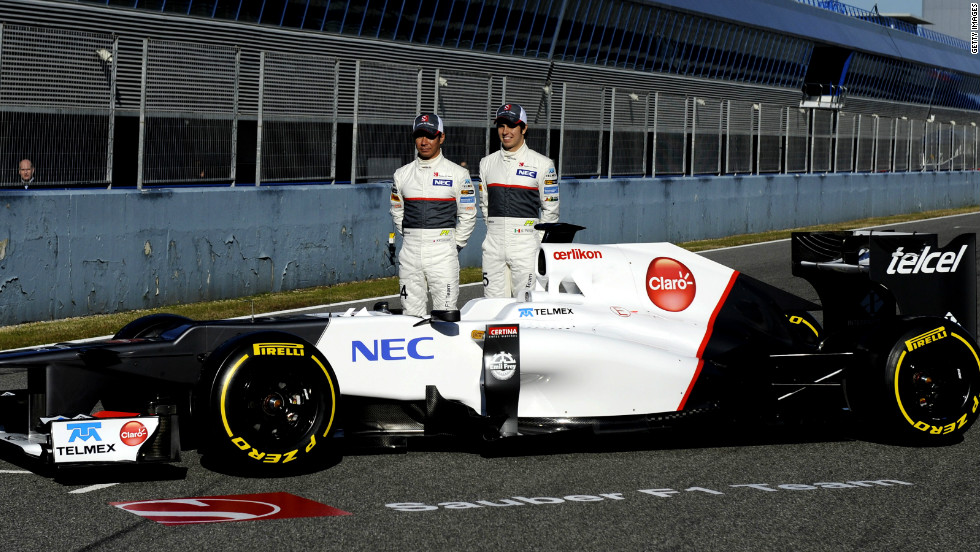 Swiss team Sauber revealed the new C31 on Monday, with Japanese driver Kamui Kobayashi and Mexico's Sergio Perez putting the car through its paces.