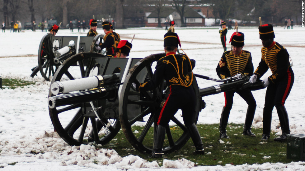 The troop, who form a ceremonial unit within the British Army, line up the cannon for a spectacular 41-gun salute.