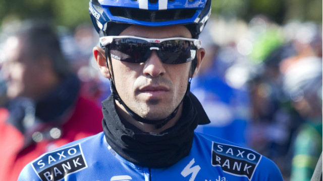 Spanish cyclist Alberto Contador of Saxo Bank prepares for the first stage of the 21th Mallorca Challenge on February 5, 2012, in Palma de Mallorca