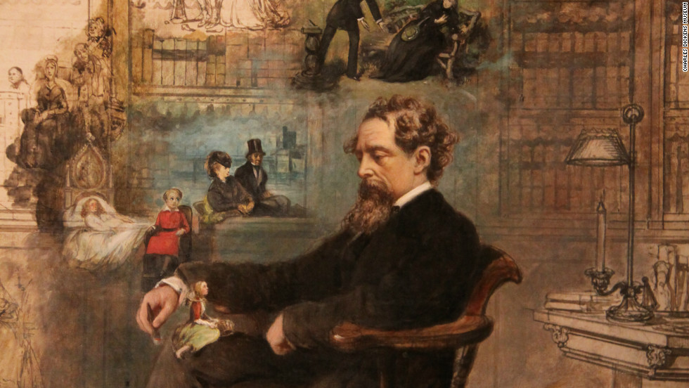 Charles Dickens is depicted by by Robert William Buss sleeping in his study at Gad's Hill Place, Higham, Kent in 1875.