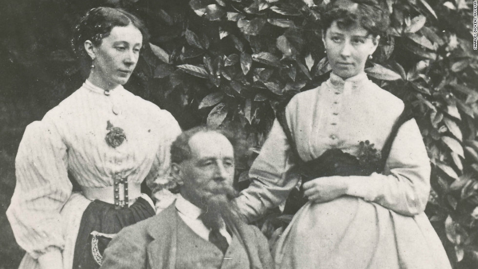 Dickens with his daughters Mary and Kate in the garden at Gad's Hill Place, 1865