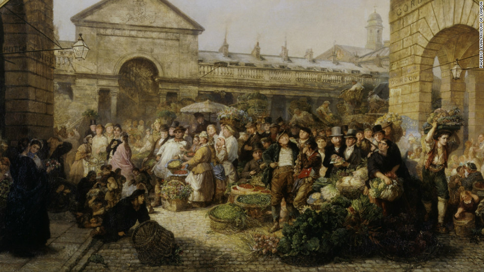 In Dickens' day, Covent Garden was a proper working market, rather than the touristy shopping area it is today.
