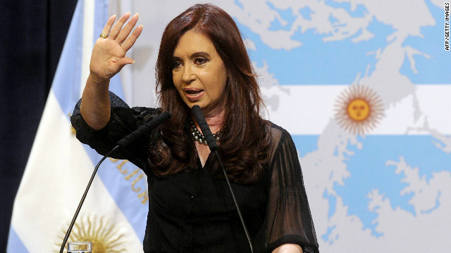 Argentine President Cristina Fernandez de Kirchner speaks in front of a map of the Falkland Islands Tuesday in Buenos Aires.