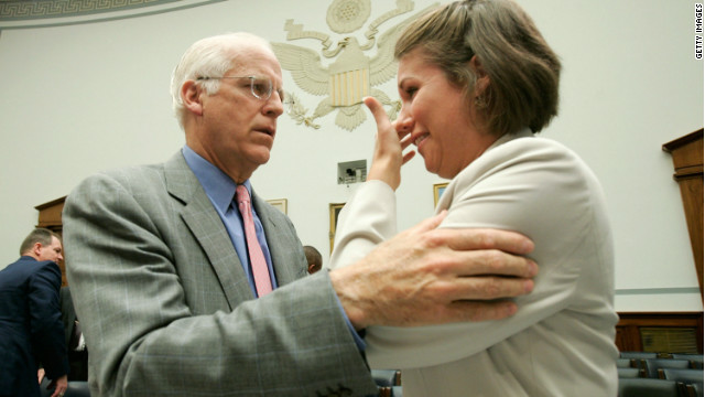 Then-Rep. Christopher Shays comforts ex-air force cadet Beth Davis after her 2006 testimony on sexual assault in the military.