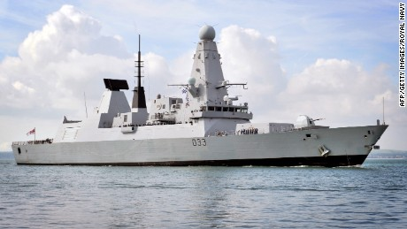 Britain's Royal Navy Type 45 destroyer HMS Dauntless enters Portsmouth, England.