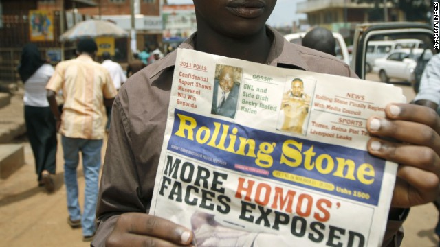 In November 2010, Uganda's 'Rolling Stone' newspaper ran a campaign against homosexuals.