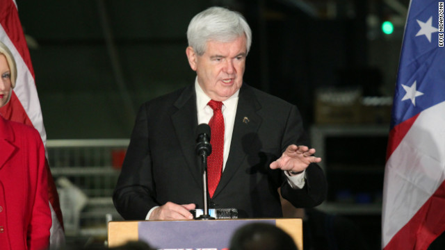Newt Gingrich speaks to workers Wednesday at Jergens Industrial Supply in Cleveland, Ohio.