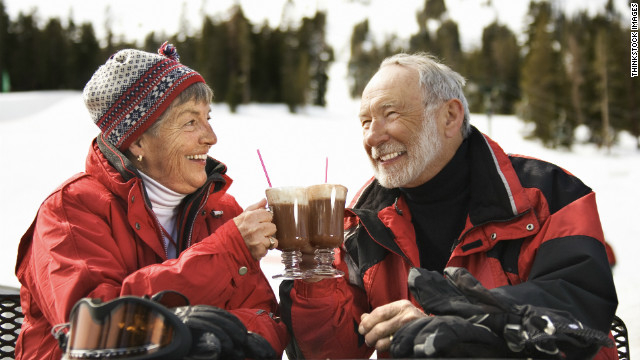 happy cold couple with coffee