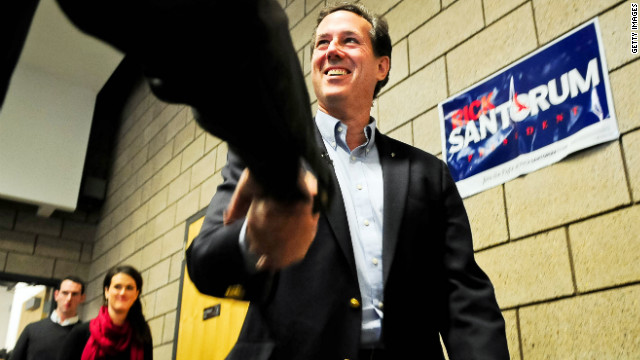 BLAINE, MN - FEBRUARY 7: Republican presidential candidate, former U.S. Sen. Rick Santorum arrives at a campaign rally February 7, 2012 in Blaine, Minnesota. Santorum is looking for a win is at least one of the three nomination contests today, caucuses in Colorado and Minnesota and a non-binding vote in Missouri. (Photo by Ben Garvin/Getty Images)