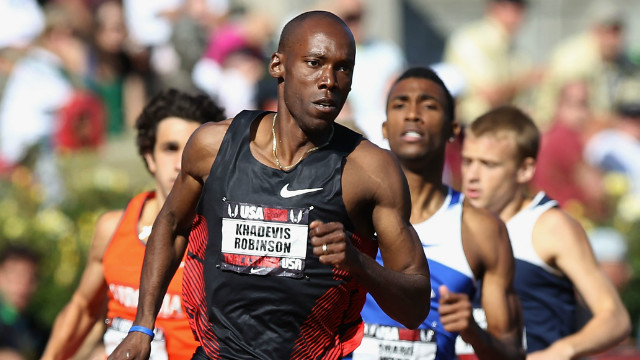 Khadevis Robinson leads the pack in June at the USA Outdoor Track & Field Championships in Oregon.